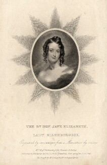 Jane Elizabeth, Countess of Ellenborough, by Thomas Wright, published by  Whittaker & Co, and published by  Martin Colnaghi, after  Henry Collen - NPG D6861