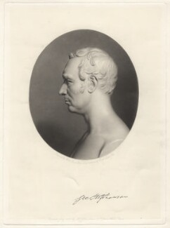 George Stephenson, by William Lucas, published by  John Lucas, after a bust by  Christopher Moore - NPG D6862