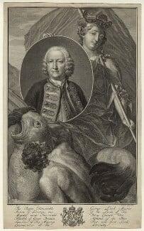 George Anson, 1st Baron Anson, by Jacobus Houbraken, after  J. Wandelaar - NPG D7071