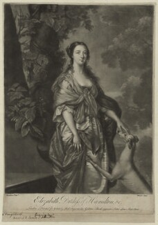 Elizabeth (née Gunning), Baroness Hamilton of Hameldon when Duchess of Hamilton, by Richard Houston, printed for and sold by  Robert Sayer, after  Gavin Hamilton - NPG D7113