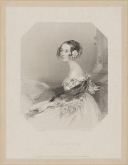 Emily Ashley-Cooper (née Cowper), Countess of Shaftesbury when Lady Ashley, by Edward Francis Finden, printed by  McQueen (Macqueen), after  John Hayter - NPG D7403