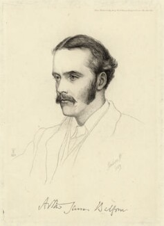 Arthur James Balfour, 1st Earl of Balfour, by Charles William Sherborn, after  Violet Manners, Duchess of Rutland - NPG D7482