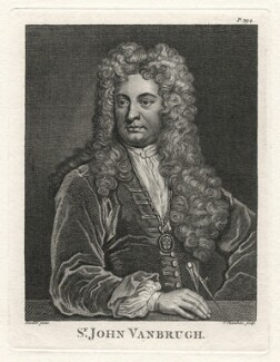 Sir John Vanbrugh, by Thomas Chambers (Chambars), after  Sir Godfrey Kneller, Bt - NPG D7524