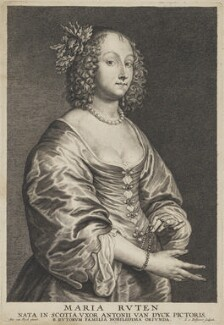 Mary (née Ruthven), Lady van Dyck, by Schelte Bolswert, after  Sir Anthony van Dyck - NPG D7527