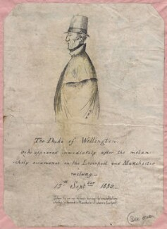 'The Duke of Wellington as he appeared immediately after the melancholy occurence on the Liverpool and Manchester railway - 15th Sept 1830', by W.W.D., after  Unknown artist - NPG D7597