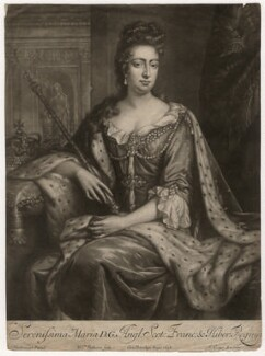 Queen Mary II, by William Faithorne Jr, published by  Edward Cooper, after  Jan van der Vaart - NPG D7768