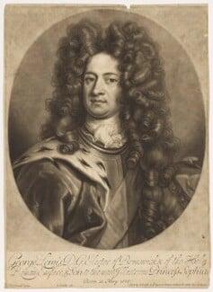 King George I when Elector of Hanover, by John Smith, after  Johann Leonhard Hirschmann, 1706 - NPG D7793 - © National Portrait Gallery, London