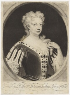 Caroline Wilhelmina of Brandenburg-Ansbach when Princess of Wales, by John Simon, after  Sir Godfrey Kneller, Bt - NPG D7916