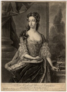 Princess Caroline Elizabeth, by John Faber Jr, after  Hans Hysing, mid 18th century - NPG D7957 - © National Portrait Gallery, London