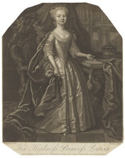 Louisa, Queen of Denmark, by Gerhard Bockman, published by  Thomas Jefferys, and published by  William Herbert, after  James Worsdale - NPG D7963