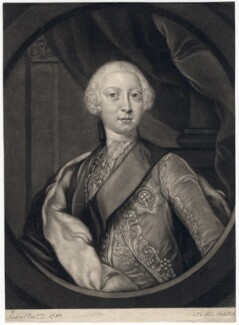 King George III when Prince of Wales, by James Macardell, after  David Lüders, (1751) - NPG D7993 - © National Portrait Gallery, London