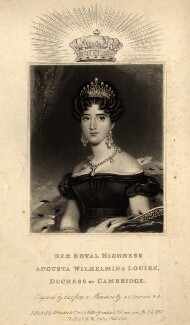 Princess Augusta Wilhelmina Louisa, Duchess of Cambridge, by William Say, published by  Whittaker & Co, after  Alfred Edward Chalon, published July 1830 - NPG D8035 - © National Portrait Gallery, London