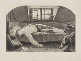 Made up picture - 'Death of ...' (Thomas Chatterton), by Thomas Oldham Barlow, after  Henry Wallis, 1850-1889 - NPG  - © National Portrait Gallery, London