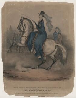Queen Victoria on horseback, in the Royal Park at Windsor, after Joseph Bouvier - NPG D8150