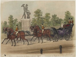 'The Queen and Prince Albert taking an airing in Hyde Park' (Queen Victoria; Prince Albert of Saxe-Coburg-Gotha), published by Dean & Co, after  James Pollard, 1840s - NPG  - © National Portrait Gallery, London