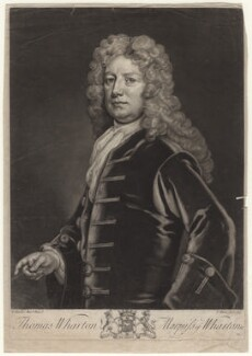 Thomas Wharton, 1st Marquess of Wharton, by John Faber Jr, after  Sir Godfrey Kneller, Bt - NPG D8298