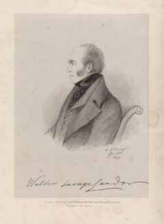 Walter Savage Landor, by Richard James Lane, published by  John Mitchell, printed by  Jérémie Graf, after  Alfred, Count D'Orsay - NPG D8378