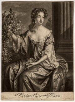 Dorothy Brownlow (née Mason), Lady Brownlow, by John Smith, published by  Edward Cooper, after  Willem Wissing, 1687 - NPG D846 - © National Portrait Gallery, London