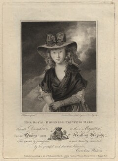 Princess Mary, Duchess of Gloucester, by Caroline Watson, after  John Hoppner - NPG D8579