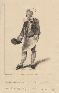 Henry Gatti as Monsieur Marbleu in Moncrieff's 'Monsieur Tonson', by Robert Cooper, published by  Henry Berthoud, after  Michael William Sharp - NPG D8586
