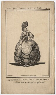 Priscilla Kemble (née Hopkins) when Miss Hopkins; as Miss Notable in Cibber's 'The Lady's Last Stake', by John Thornthwaite, published by  John Bell, after  James Roberts - NPG D8666