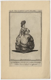 Priscilla Kemble (née Hopkins) when Miss Hopkins; as Miss Notable in Cibber's 'The Lady's Last Stake', by John Thornthwaite, published by  John Bell, after  James Roberts - NPG D8667