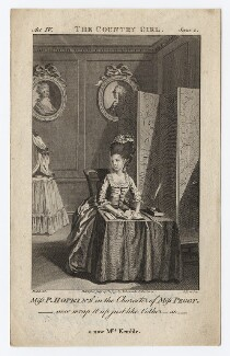 Priscilla Kemble (née Hopkins) when Miss Hopkins; as Miss Peggy in Garrick's 'The Country Girl', by Joseph Collyer the Younger, after  Daniel Dodd, published 1777 - NPG D8668 - © National Portrait Gallery, London
