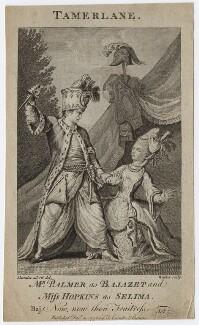 John Palmer; Priscilla Kemble (née Hopkins) (as Bajazet and Selima in Collier's 'Selima and Azor'), by Walker, after  John James Barralet, published 1776 - NPG D8670 - © National Portrait Gallery, London
