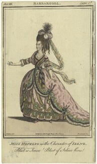 Elizabeth Sharp (née Hopkins) when Miss Hopkins; as Irene in Brown's 'Barbarossa', by John Thornthwaite, published by  John Bell, after  James Roberts - NPG D8678