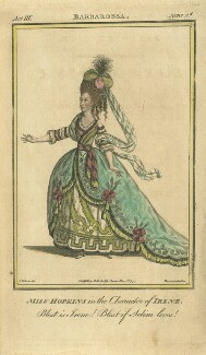 Elizabeth Sharp (née Hopkins) when Miss Hopkins; as Irene in Brown's 'Barbarossa', by John Thornthwaite, published by  John Bell, after  James Roberts - NPG D8679