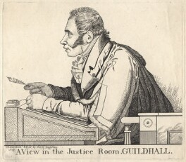 Sir Matthew Wood, 1st Bt ('A view in the Justice Room, Guildhall'), by and published by Richard Dighton - NPG D8793