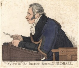 Sir Matthew Wood, 1st Bt ('A view in the Justice Room, Guildhall'), by and published by Richard Dighton, reissued by  Thomas McLean - NPG D8794