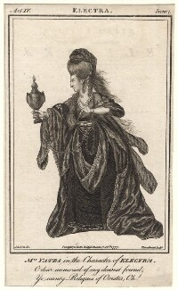 Mary Ann Yates in the character of Electra, by John Thornthwaite, published by  John Bell, after  James Roberts - NPG D8818