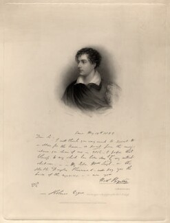 Lord Byron, by Henry Thomas Ryall, after  James Holmes - NPG D8821