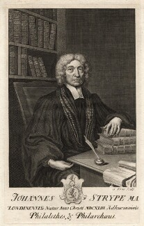 John Strype, by George Vertue, after  Unknown artist - NPG D8897