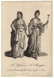 Mary Ann Yates; Frances Abington (née Barton) in the characters of the Tragic and Comic Muses, after Unknown artist - NPG D8957