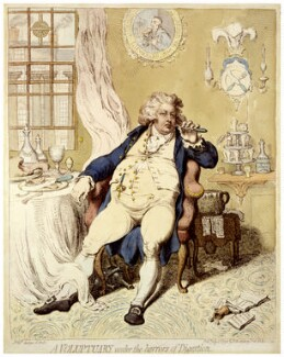 King George IV ('A voluptuary under the horrors of digestion'), by James Gillray, published by  Hannah Humphrey - NPG D12460