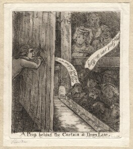 Richard Brinsley Sheridan ('A peep behind the curtain at Drury Lane'), by James Sayers, published by  Thomas Cornell - NPG D9542