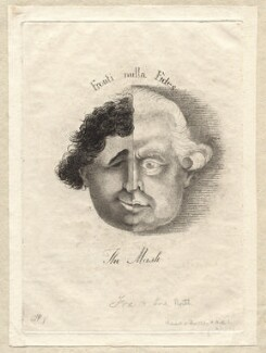 'The mask' (Charles James Fox; Frederick North, 2nd Earl of Guilford), by James Sayers, published by  H. Bretherton - NPG D9570