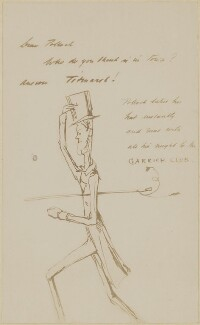 Letter to Mr Pollock - from Thackeray including a caricature of him, by William Makepeace Thackeray - NPG D9577