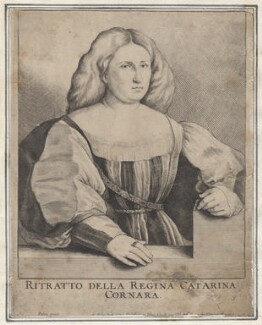 Catarina Cornara, by Wenceslaus Hollar, after  Jacopo Palma Vecchio - NPG D9690