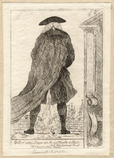 Charles Wolfran Cornwall ('Gulliver casting a damper upon the royal fireworks at Lilliput'), by James Sayers, published by  Thomas Cornell - NPG D9692