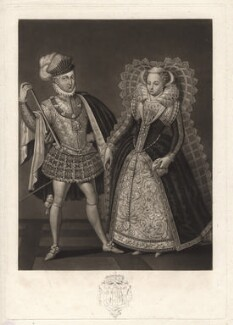 Henry Stuart, Lord Darnley; Mary, Queen of Scots, by Robert Dunkarton, published by  Samuel Woodburn, after  Renold or Reginold Elstrack (Elstracke), published 1816 - NPG D9708 - © National Portrait Gallery, London