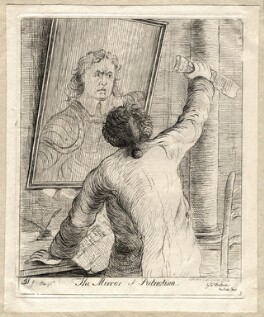 'The mirror of patriotism' (Charles James Fox; Oliver Cromwell (in mirror)), by James Sayers, published by  James Bretherton - NPG D9749
