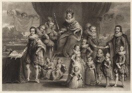 'James I and his royal progeny', by Charles Turner, published by  Samuel Woodburn, after  Willem de Passe - NPG D9808