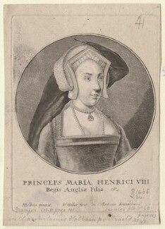 Queen Mary I when Princess Mary, by Wenceslaus Hollar, after  Hans Holbein the Younger - NPG D9852