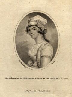 Elizabeth Craven (née Berkeley), Margravine of Brandenburg-Ansbach, by William Ridley, published by  Vernor & Hood, after  Sir Joshua Reynolds - NPG D987