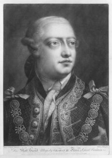 King George III, by William Pether, published by  Henry Parker, and published by  Elizabeth Bakewell, and published by  John Boydell, after  Thomas Frye - NPG D9891