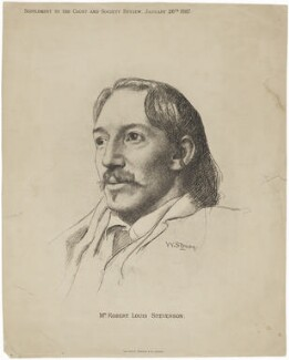 Robert Louis Stevenson, by Sprague & Co, after  William Strang, published 26 January 1887 - NPG D9957 - © National Portrait Gallery, London