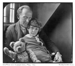 A.A. Milne; Christopher Robin Milne and Pooh Bear, by Howard Coster, 1926 - NPG x19574 - © National Portrait Gallery, London